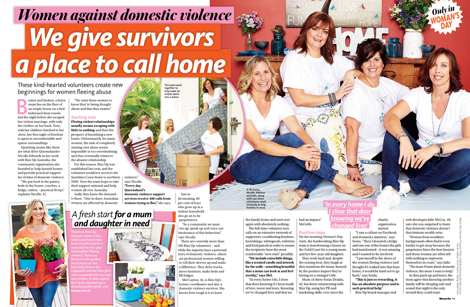 Woman's Day Rize Up Australia Article