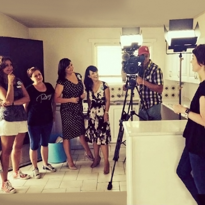 Julie McCoy, Brand Manager, Assist A Sista and the team on set for The Project TV with Nicolle Edwards, Sonia Deakin and Manuela Whitford.