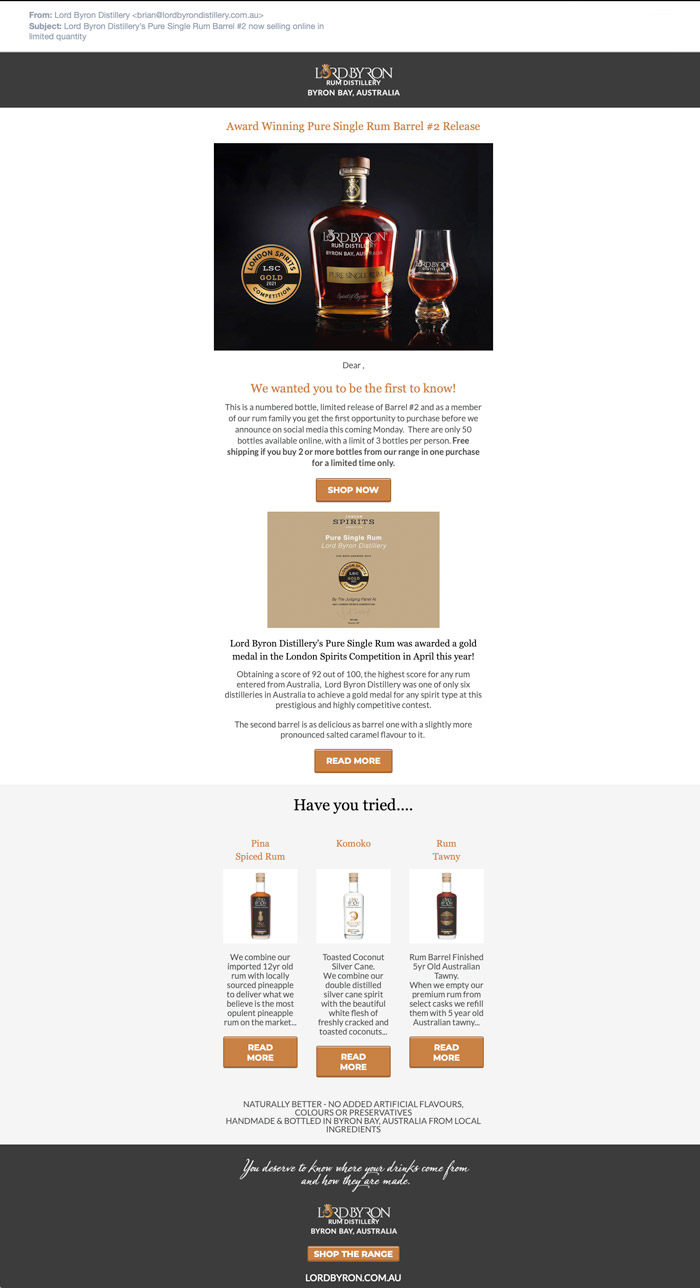 Lord Byron Distillery MailChimp Campaigns