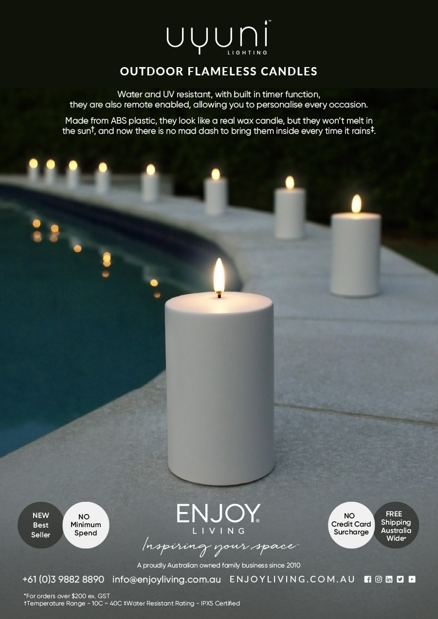 Enjoy Living AGHA Full Page Outdoor Flameless Candle Ad