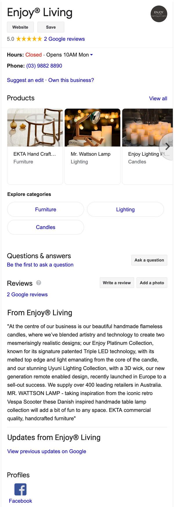 Enjoy Living Google Business Listing Management