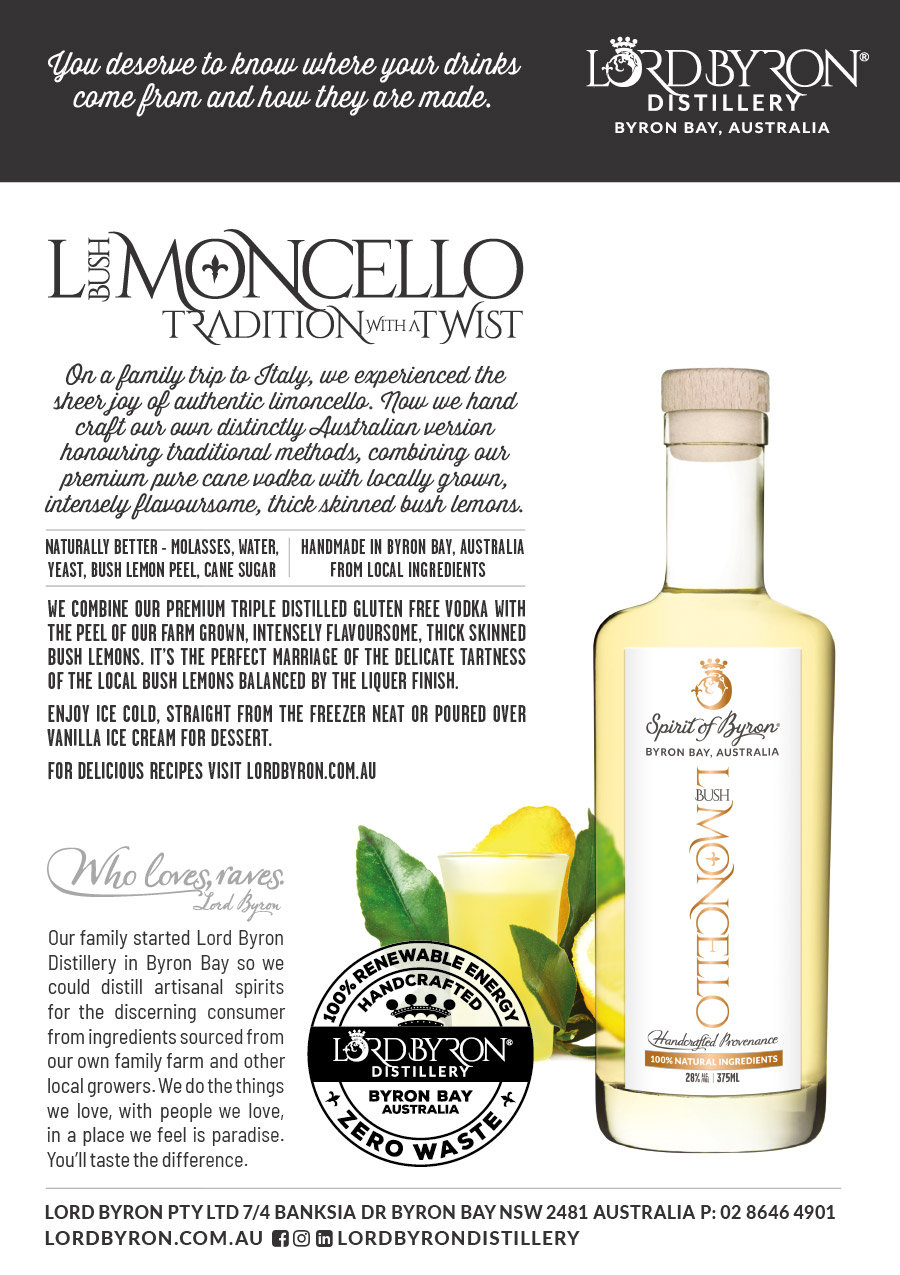 Lord Byron Distillery Pina Spiced Limoncello Promo Display Card