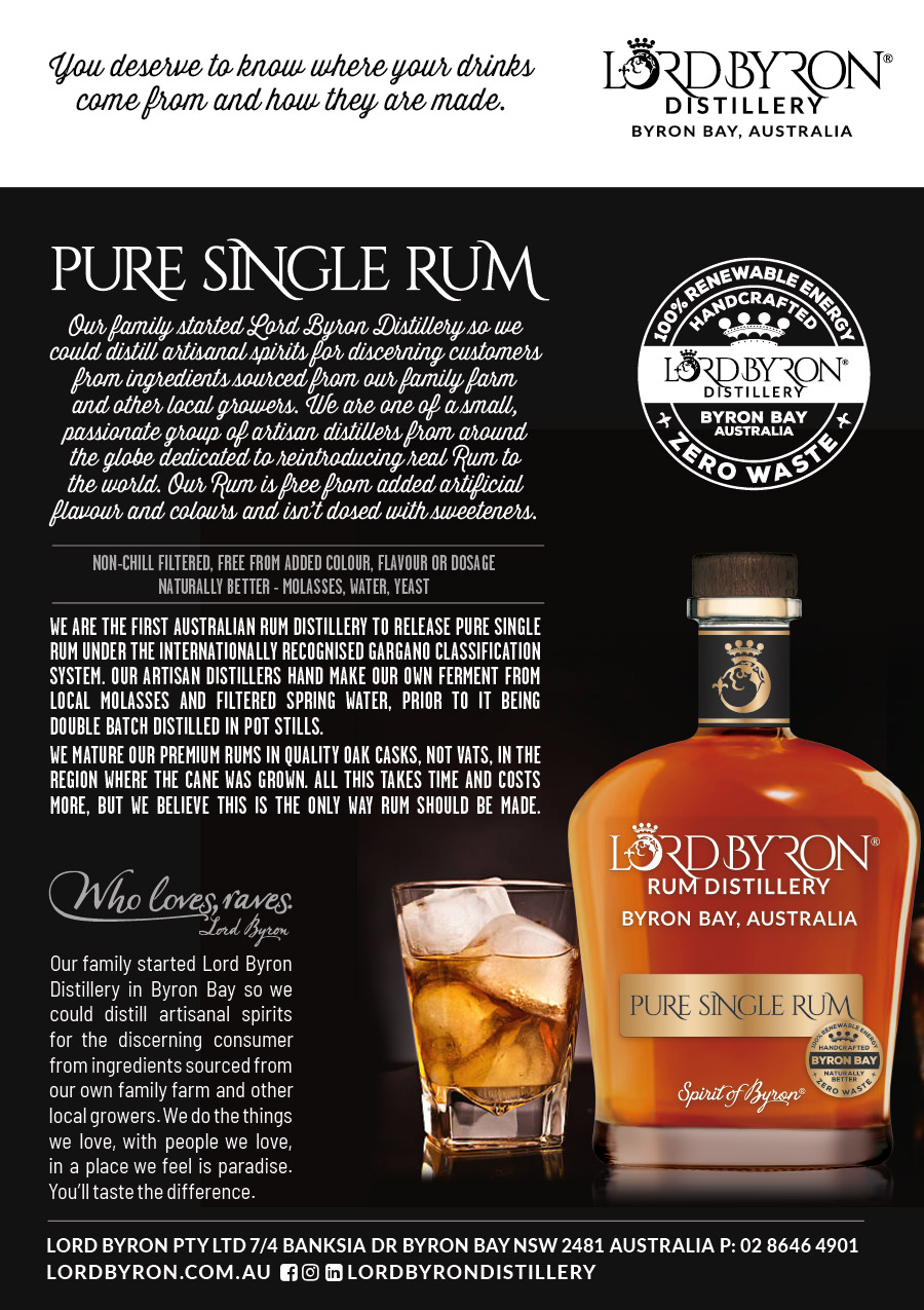 Lord Byron Distillery Rum Promo Display Card