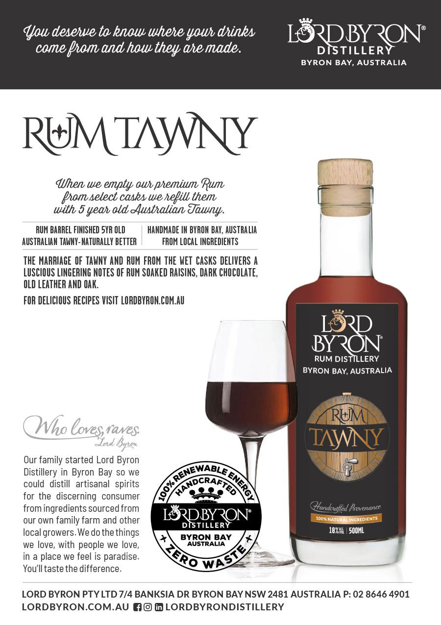 Lord Byron Distillery Pina Spiced Rum Tawny Promo Display Card