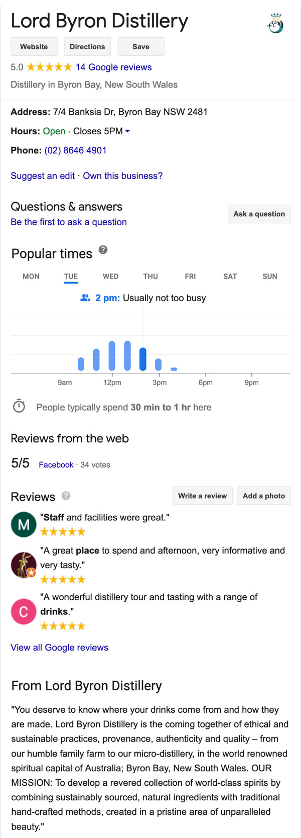 Lord Byron Distillery Google Business account creation and management