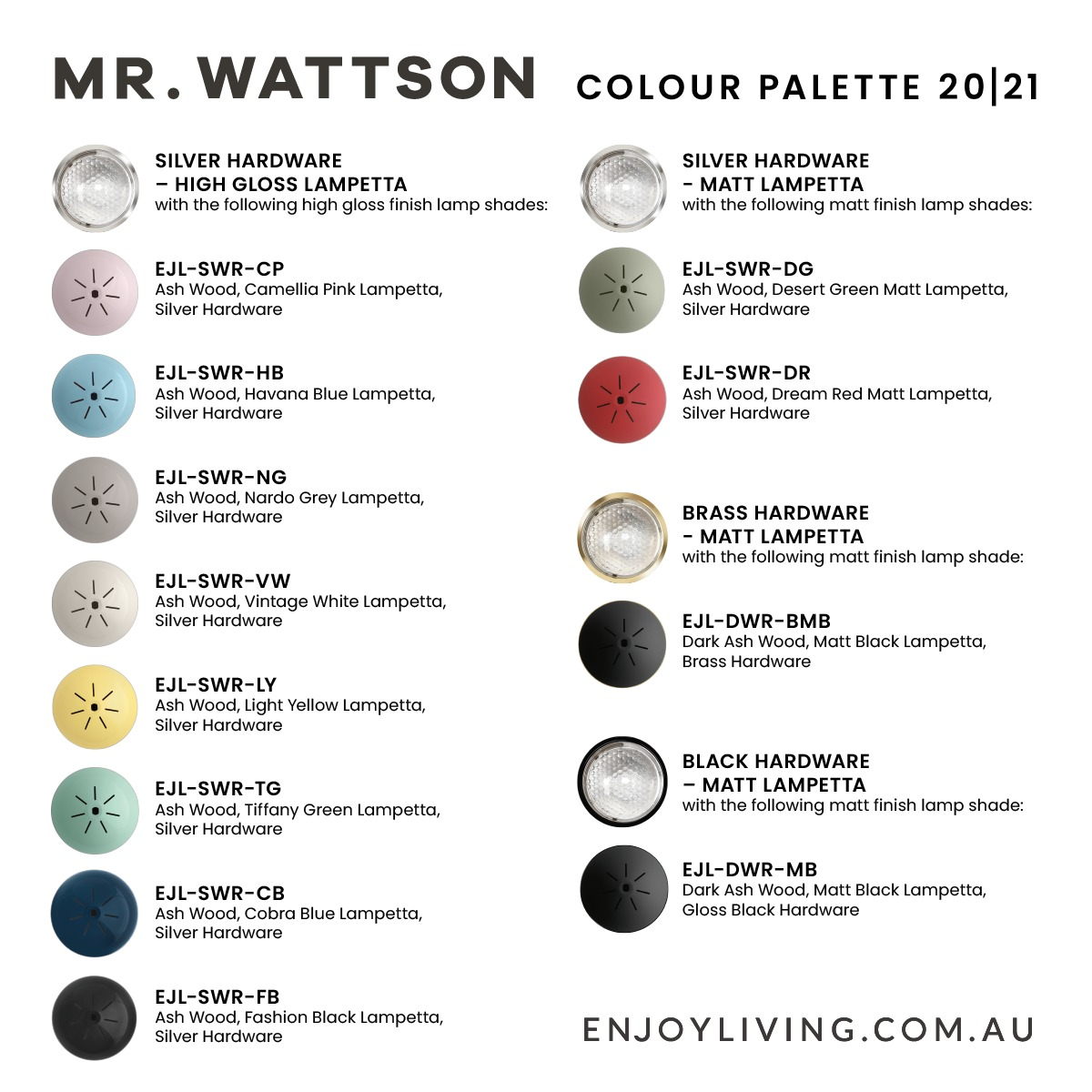 Mr. Wattson colour palette Photography and colour matching