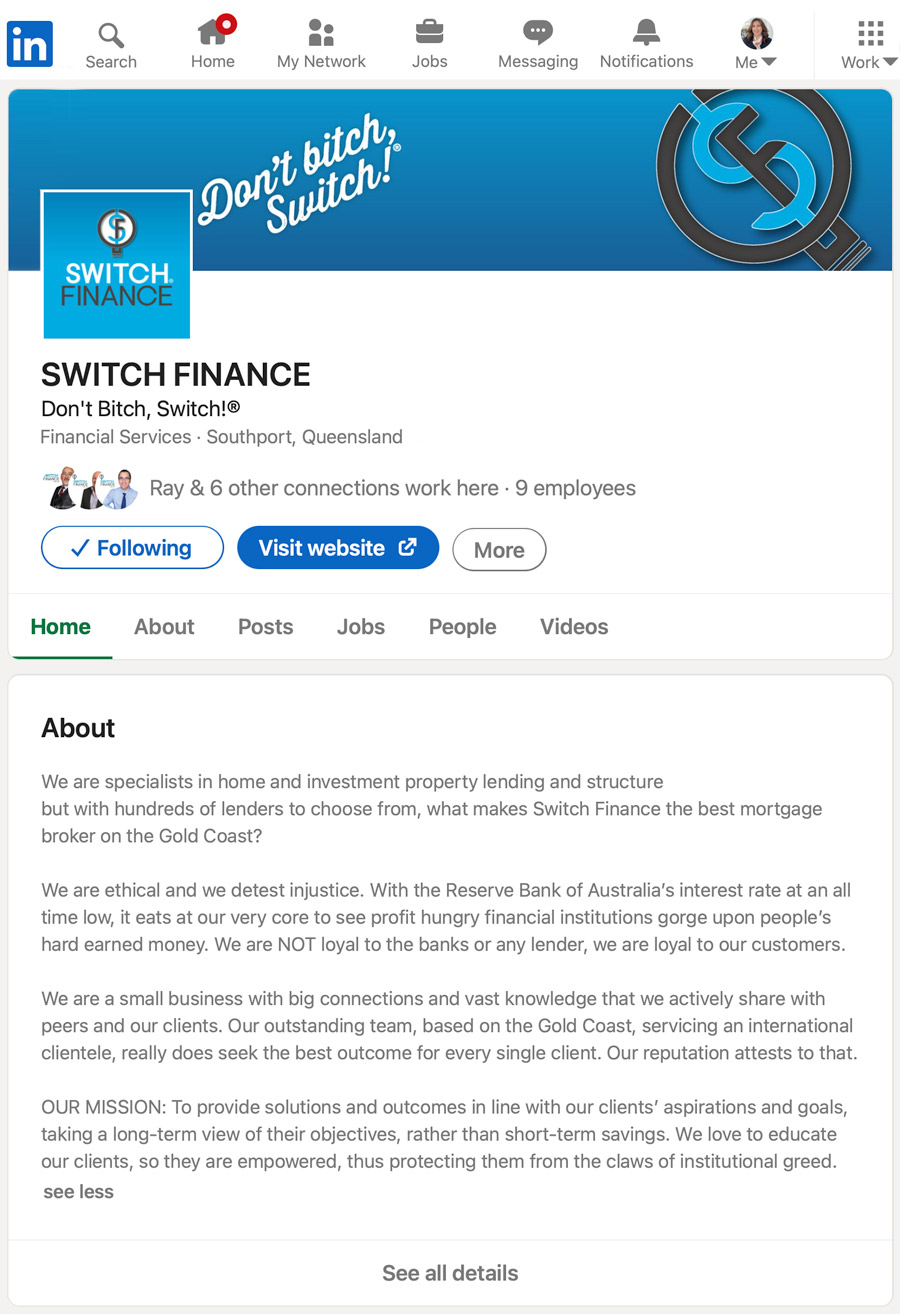 Switch Finance Linked In Company Account