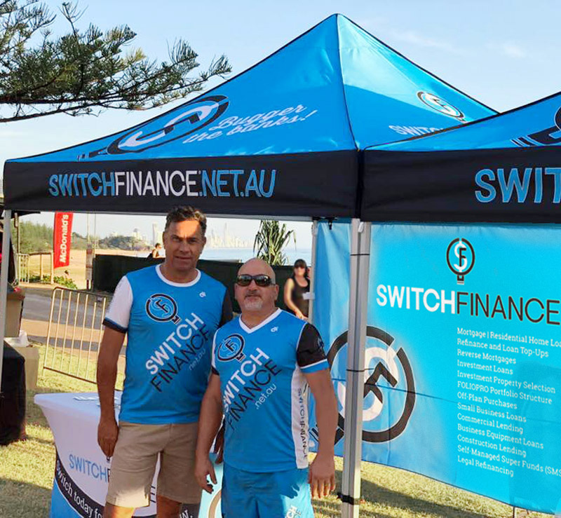 Switch Finance Marquee, Shirts and Tablecloth