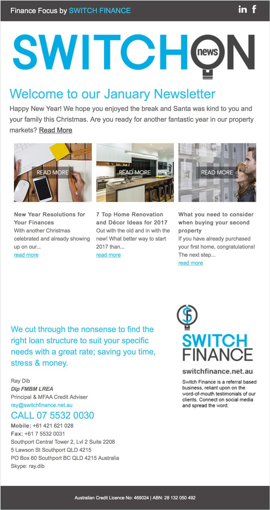 Switch Finance e-News Template