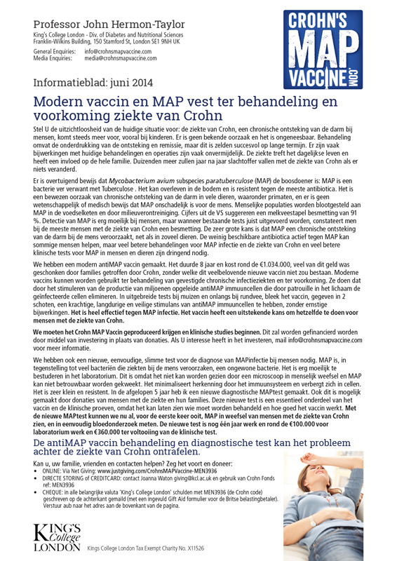Crohn's MAP Vaccine Info Sheet - Dutch