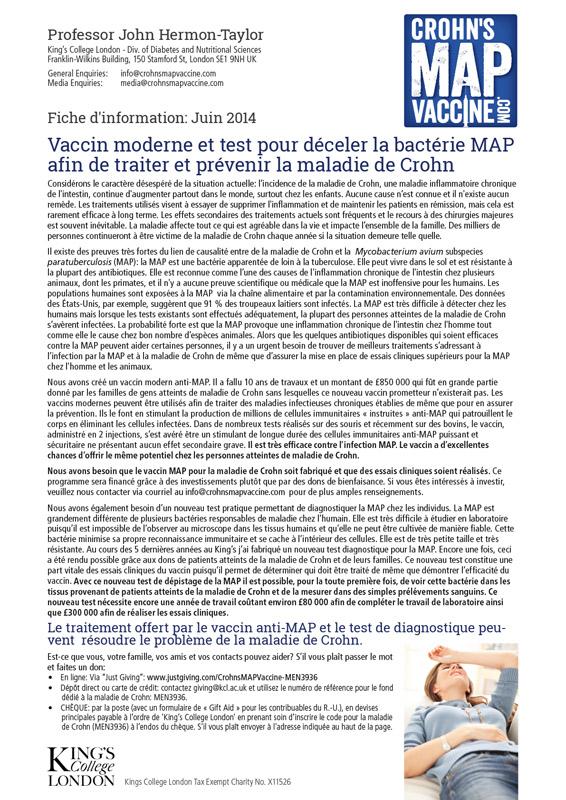 Crohn's MAP Vaccine Info Sheet - French