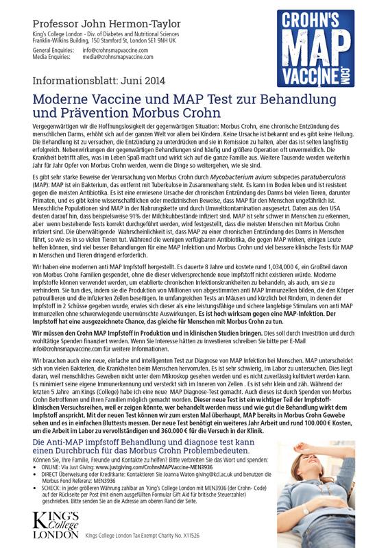Crohn's MAP Vaccine Info Sheet - German
