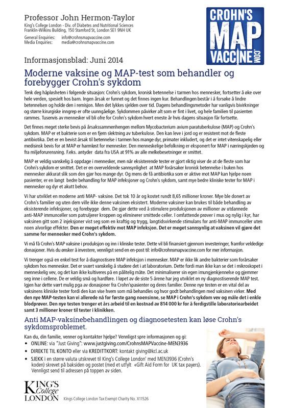 Crohn's MAP Vaccine Info Sheet - Norwegian