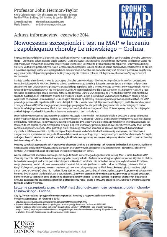 Crohn's MAP Vaccine Info Sheet - Polish