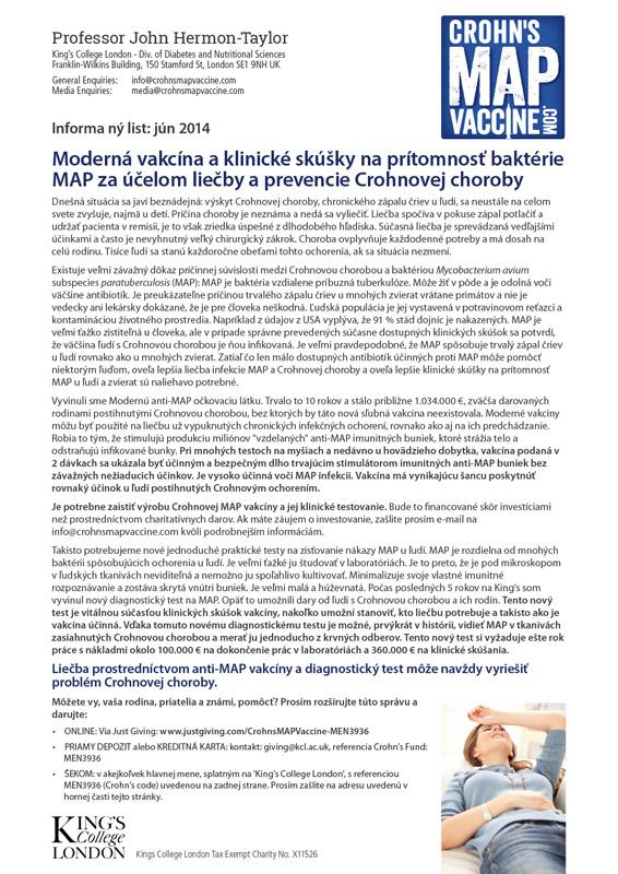 Crohn's MAP Vaccine Info Sheet - Slovak