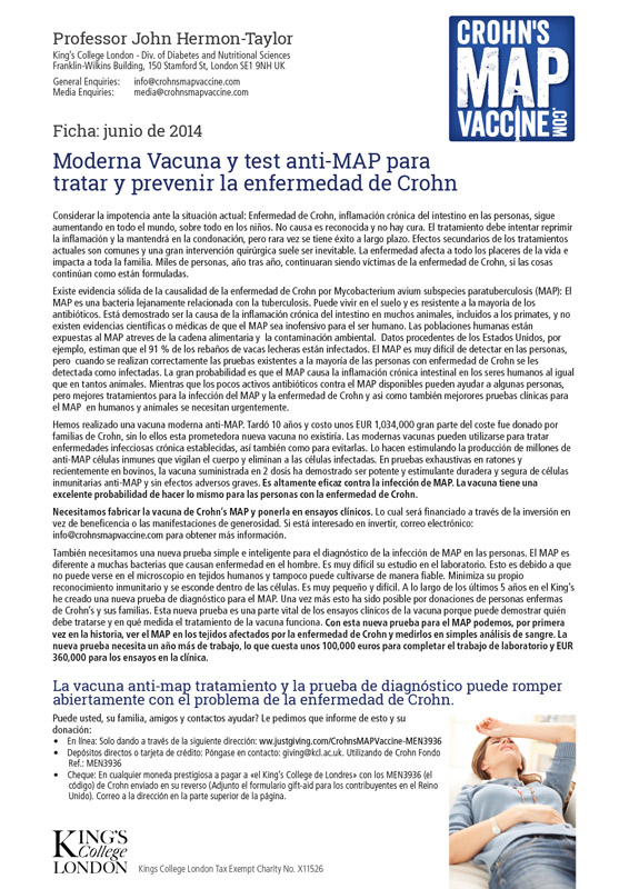 Crohn's MAP Vaccine Info Sheet - Spanish