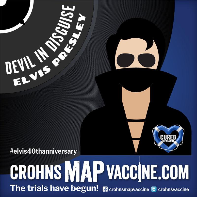 Crohn's MAP Vaccine Elvis Anniversary Event Facebook Post - Devil In Disguise